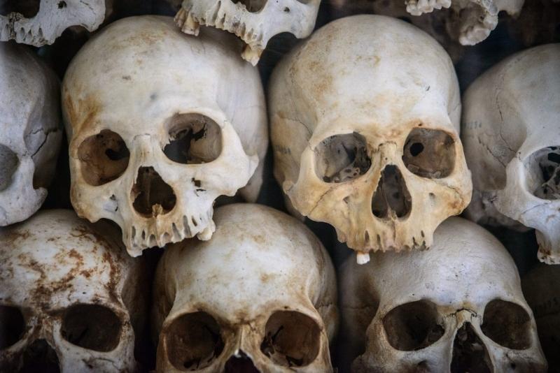 Skulls piled up, in a memorial near Phnom Penh, Cambodia.