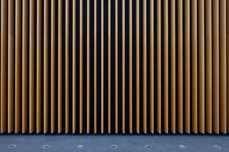 Wall detail, inside the Tokyo International Forum building, Tokyo, Japan.