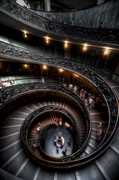 Bramante Staircase Vertorama, Vatican Museum, Vatican City.