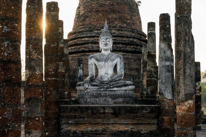A serene Buddha sculpture, in Sukhothai, Thailand.
