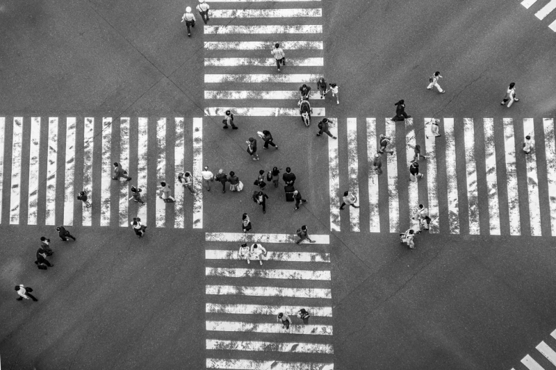 A street crossing from above, in Ginza district, Tokyo, Japan.