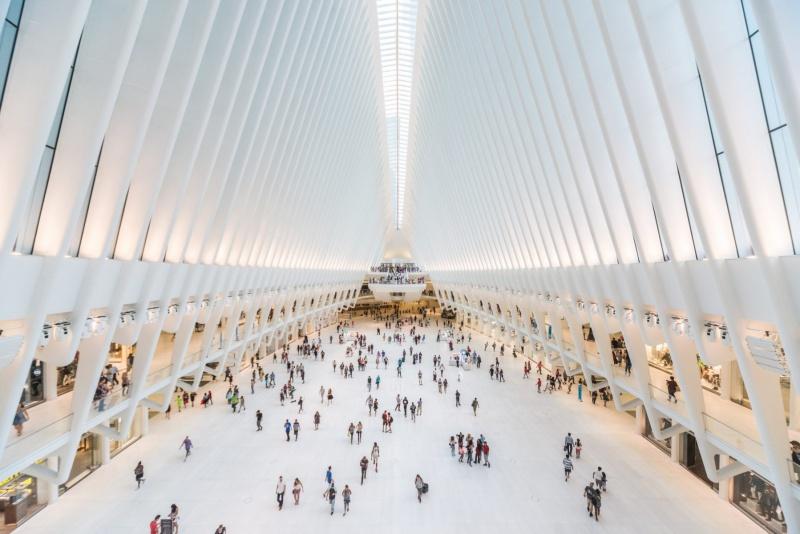 Interior of the massive Oculus, in New York City.