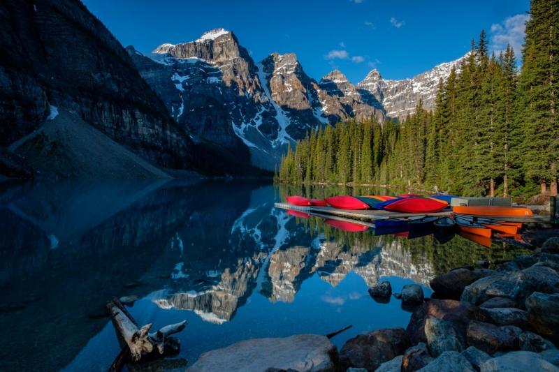 Sunrise at Lake Moraine, in Banff National Park, Canada.
