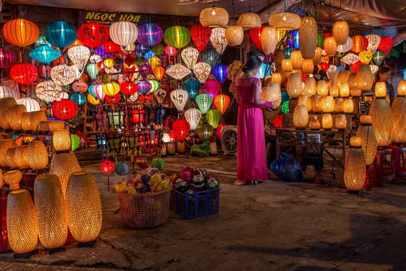 Laterns in a market in Hoi An, Vietnam.