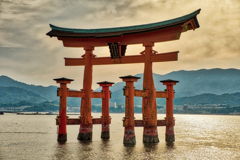 A massive torii gate, in the harbour of Itsukushima, near Hiroshima, Japan.