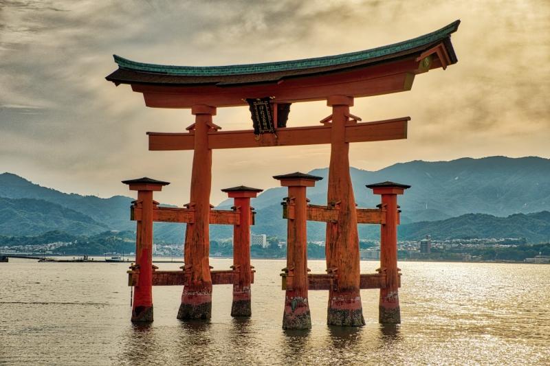 A massive torii gate, in the harbour of Itsukushima, near Hiroshima, Japan.
