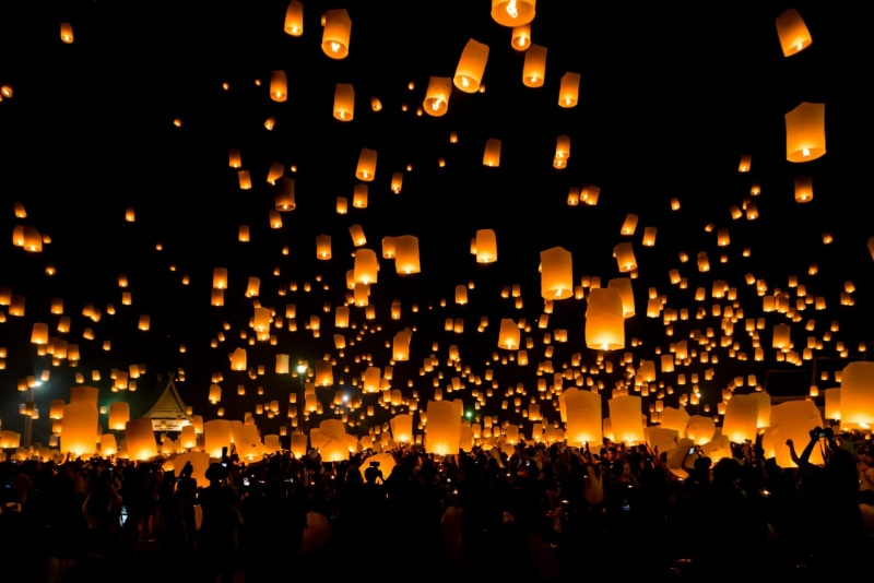 Lanterns float to the sky at the Pi Yeng festival, near Chiang Mai, Thailand.