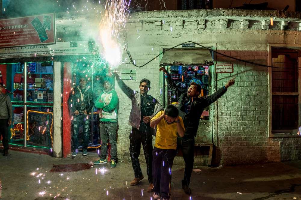 A photo of people celebrating Diwali in Bhutan.