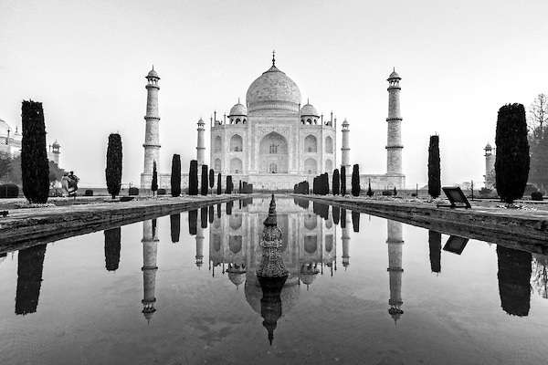 A photo of the Taj Mahal, shot in black and white.