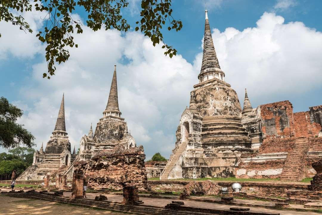 A photo of 3 chedis in Ayutthaya, Thailand.