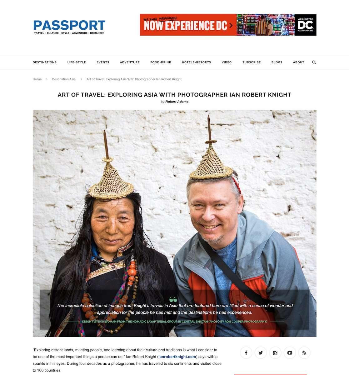 Screen Shot of Passport Magazine story about Ian Robert Knight photography